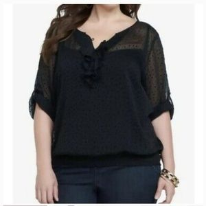 torrid Tops - Torrid polka dot chiffon sheer top 1X